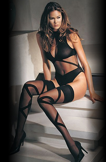 Leg Avenue Halter Neck Bodysuit And Matching Stockings